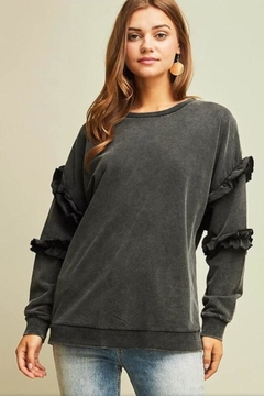 Shoptiques Product: Black Ruffle Sweatshirt