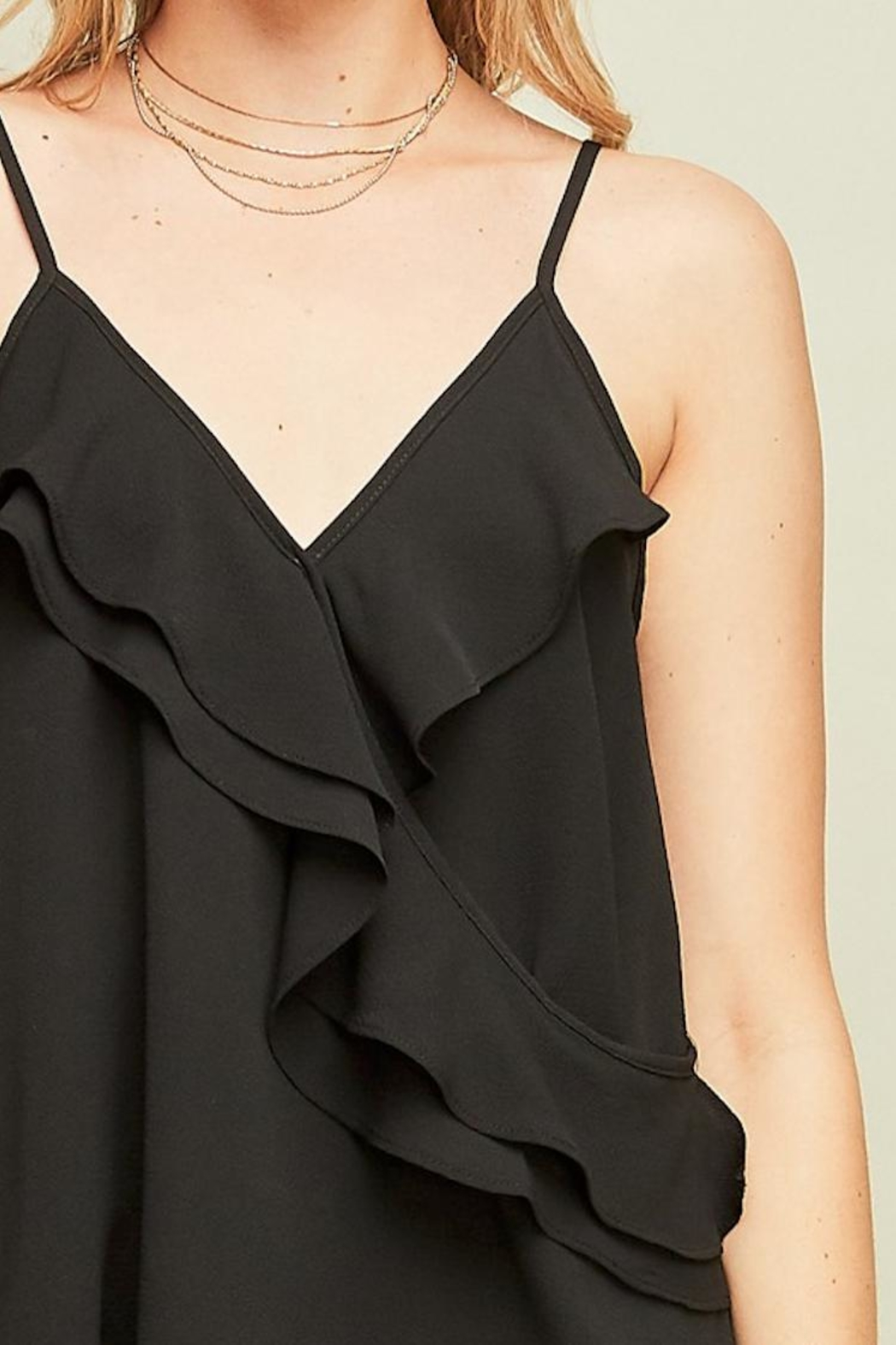 Entro Black Ruffle Tank - Side Cropped Image