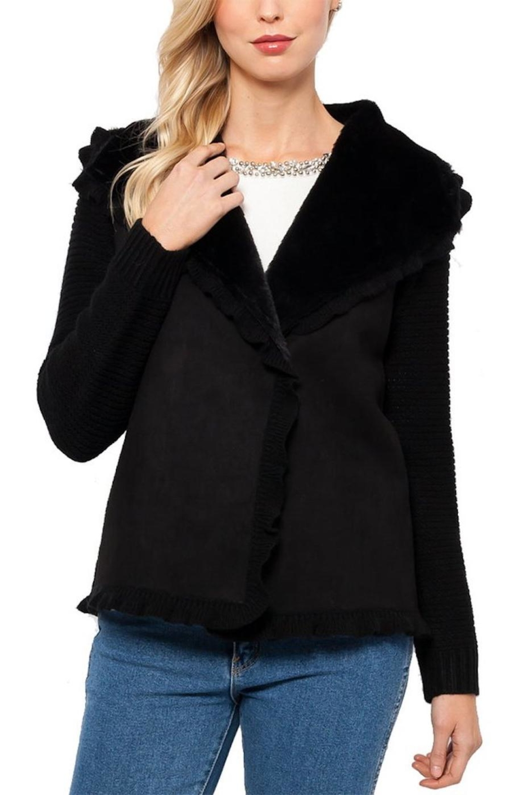 love token Black Ruffled Cardigan - Front Cropped Image