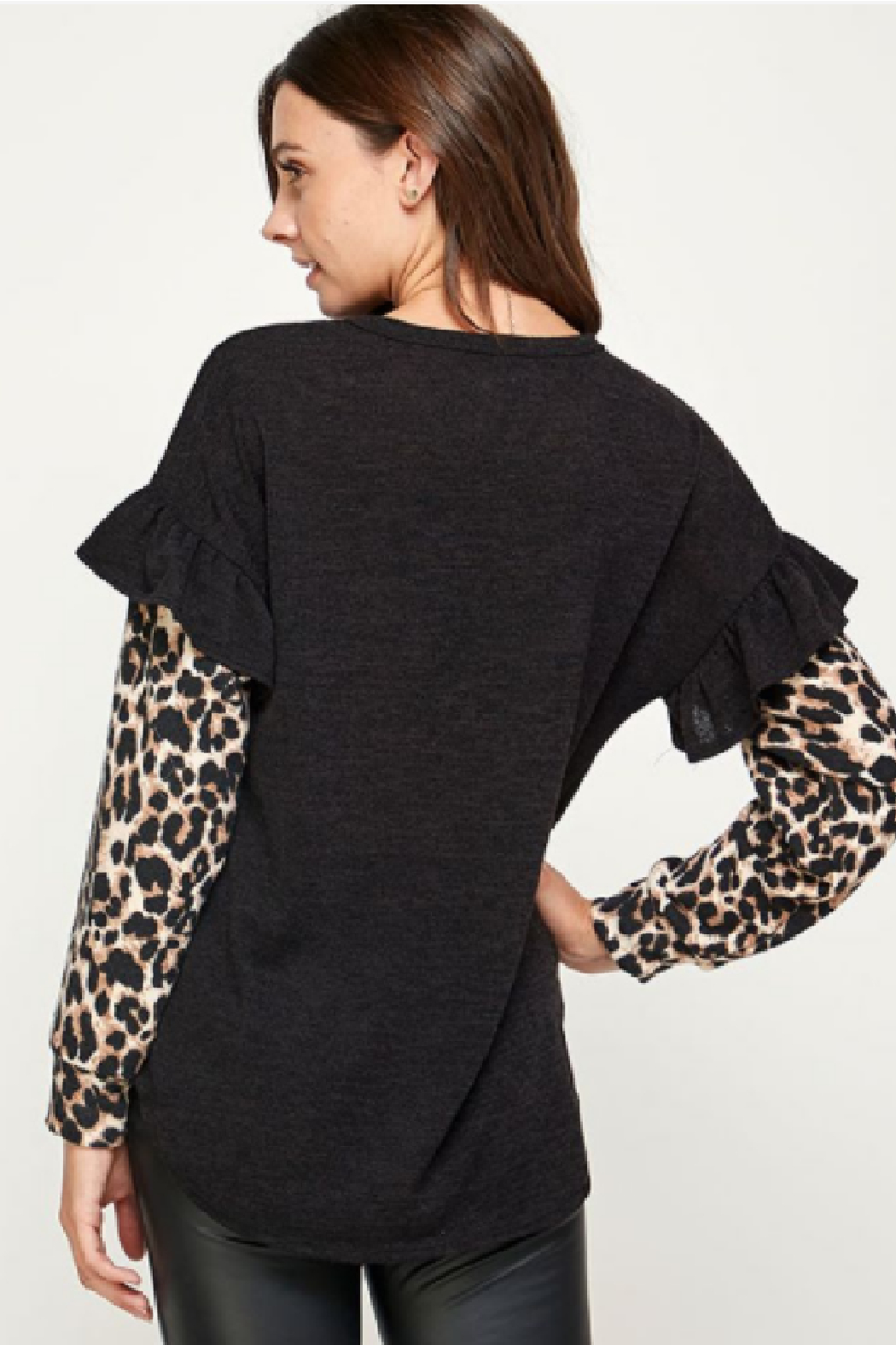 Watermelon Black Ruffled Shoulder Top - Side Cropped Image