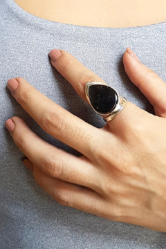 Crystal Earth Black Rutile Tear Wide Ring - Alternate List Image