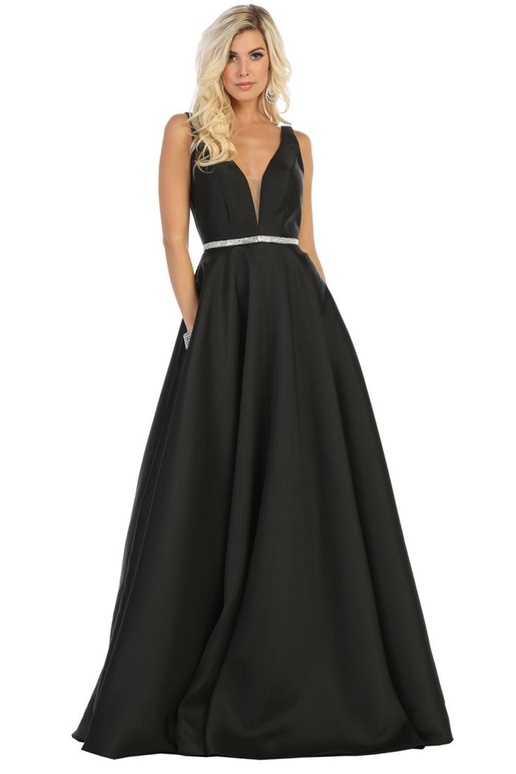 May Queen  Black Satin A-Line Formal Ball Gown - Front Cropped Image