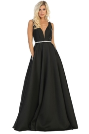 May Queen  Black Satin A-Line Formal Ball Gown - Front cropped