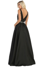 May Queen  Black Satin A-Line Formal Ball Gown - Front full body