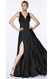 Cinderella Divine Black Satin Flowy Long Formal Dress - Product Mini Image
