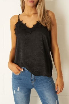 frontrow Black Satin-Lace Top - Product List Image