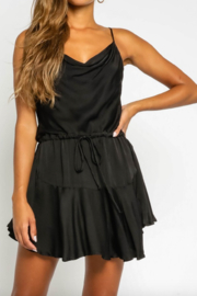 Olivaceous  Black Satin Minidress - Front cropped