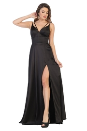 May Queen  Black Satin V-Strap Formal Long Dress - Front cropped