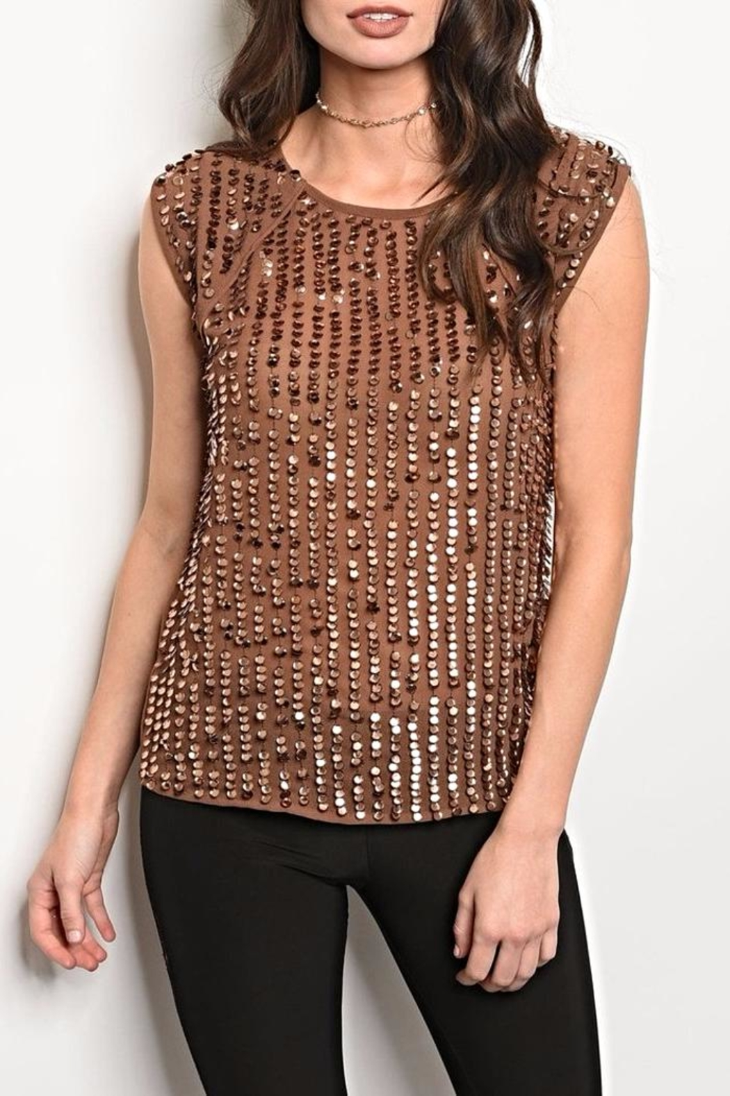 Black Sequin Brown Blouse - Main Image
