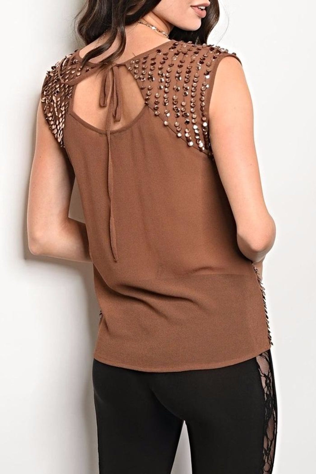Black Sequin Brown Blouse - Front Full Image