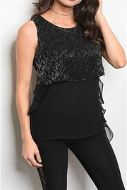 Black Sequin Sleeveless Top - Product Mini Image