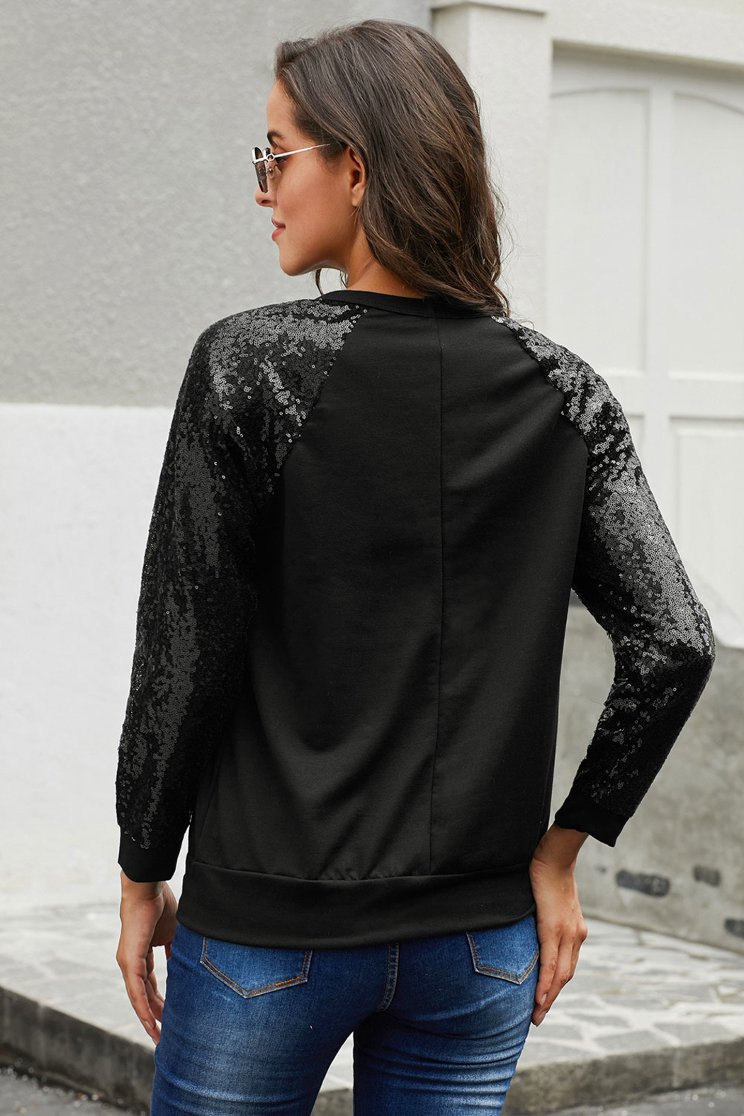 Love Valentine Boutique Black Sequin Top - Front Full Image