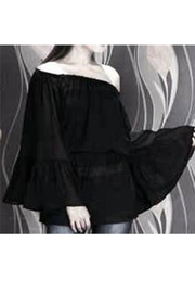 Indian Tropical Black Sheer Bell Sleeve Top - Product Mini Image