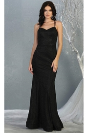 May Queen  Black Shimmer Fit & Flare Long Formal Dress - Front cropped