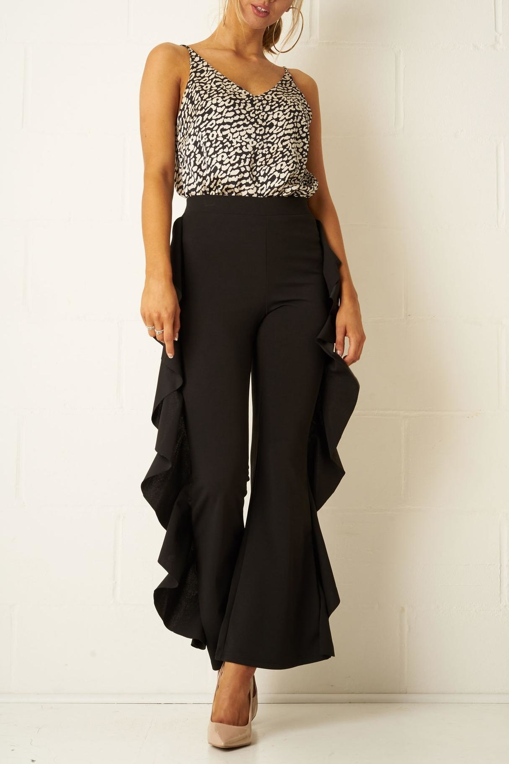 b8b6fddc515d76 frontrow Black Side-Frill Trousers from Essex by Frontrow — Shoptiques