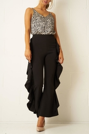 frontrow Black Side-Frill Trousers - Product Mini Image