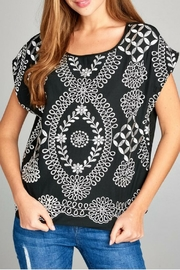Renee C Black/silver Boatneck Top - Product Mini Image