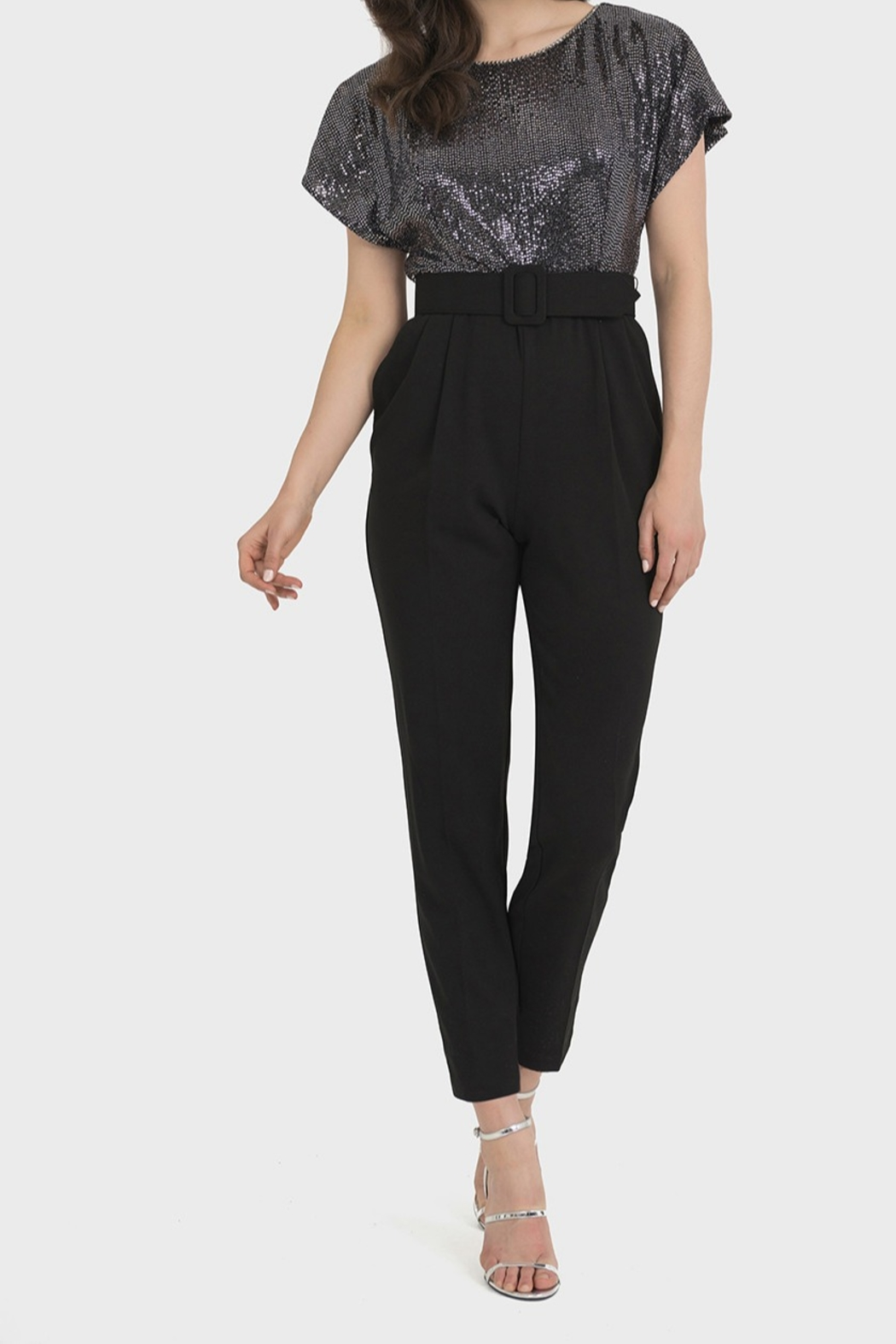 Joseph Ribkoff BLACK/SILVER JUMPSUIT - Front Cropped Image
