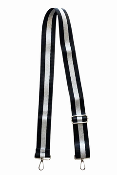 Ahdorned Black/Silver Metallic Stripe Adjustable Bag Strap-Silver Tone Hardware - Alternate List Image