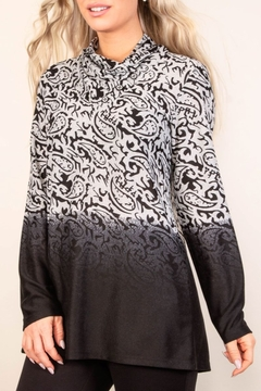Pure Essence Black/silver ombre long sleeve top - Alternate List Image
