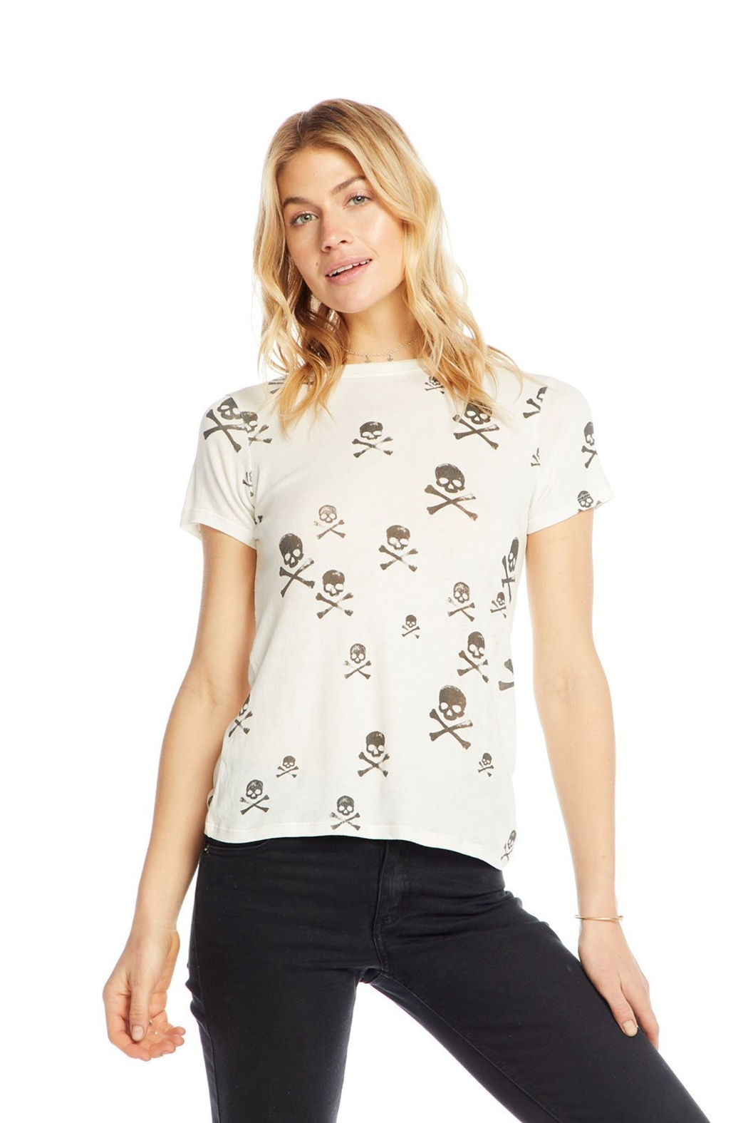 Chaser Black Skull Tee - Front Cropped Image