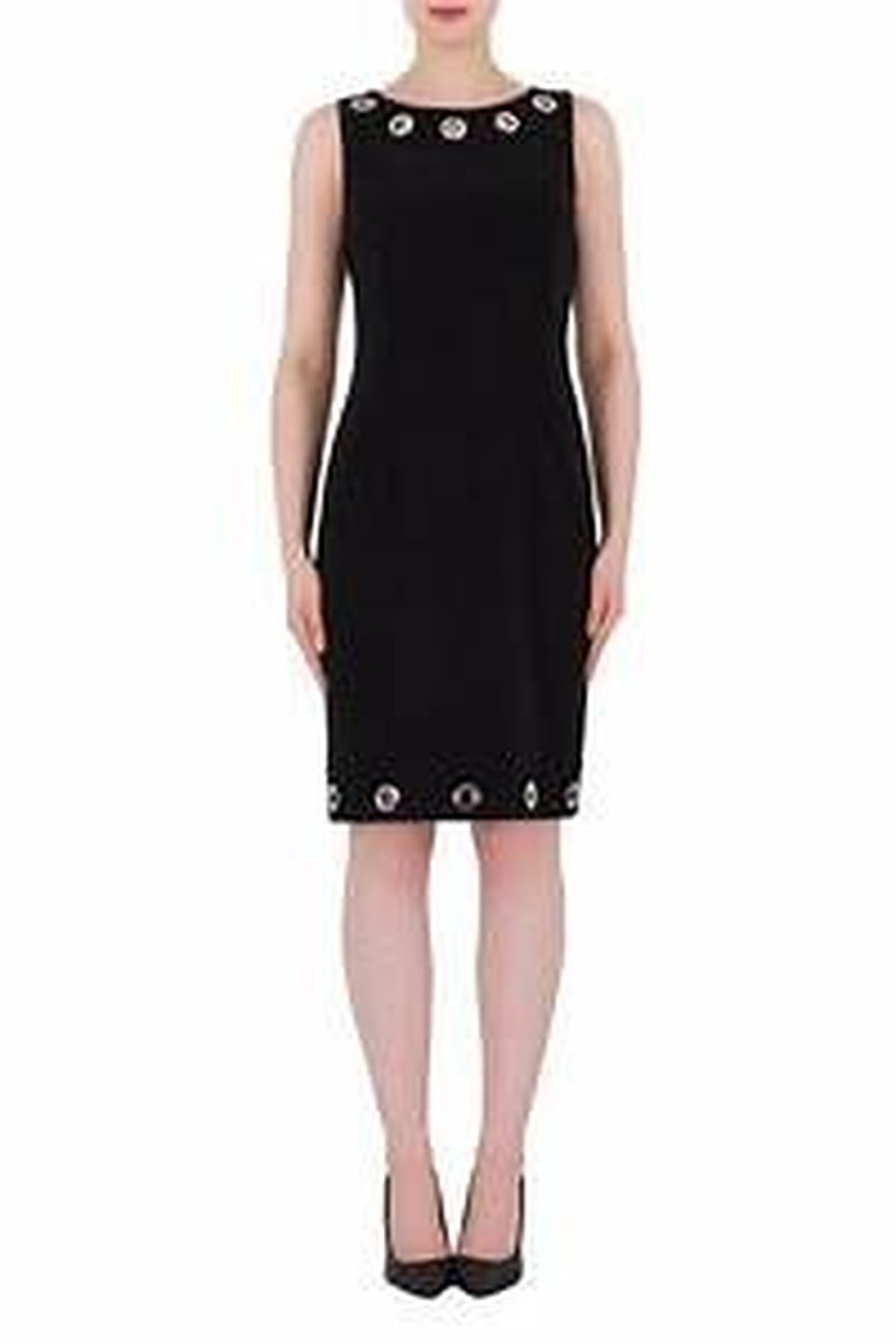Joseph Ribkoff black sleeveless fitted dress - Front Cropped Image
