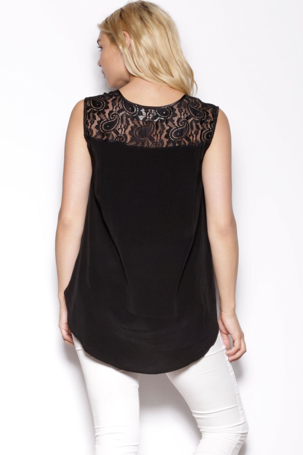 Pink Martini Collection Black Sleeveless Top - Side Cropped Image