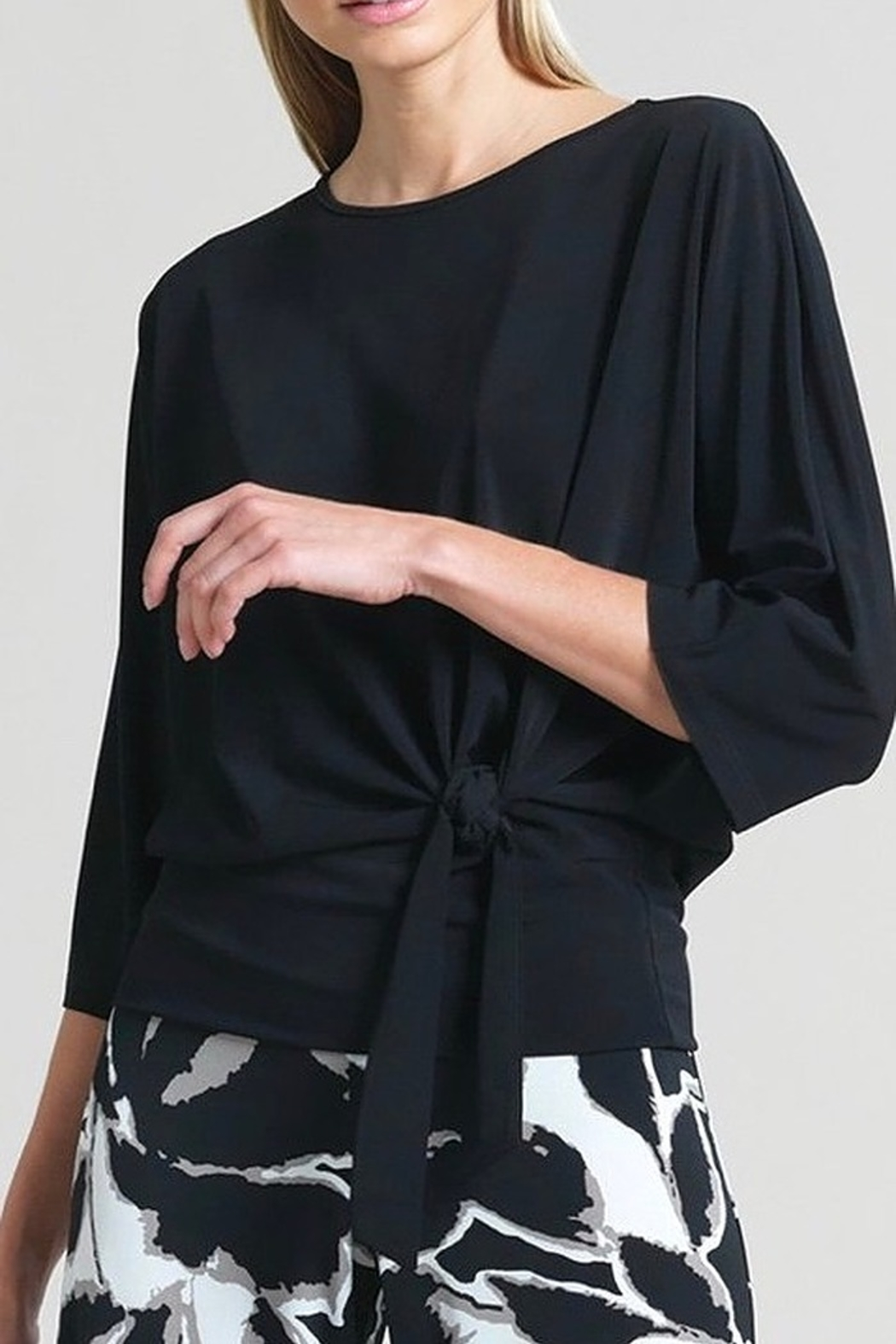 Clara Black soft knit twist front detail tunic - Main Image