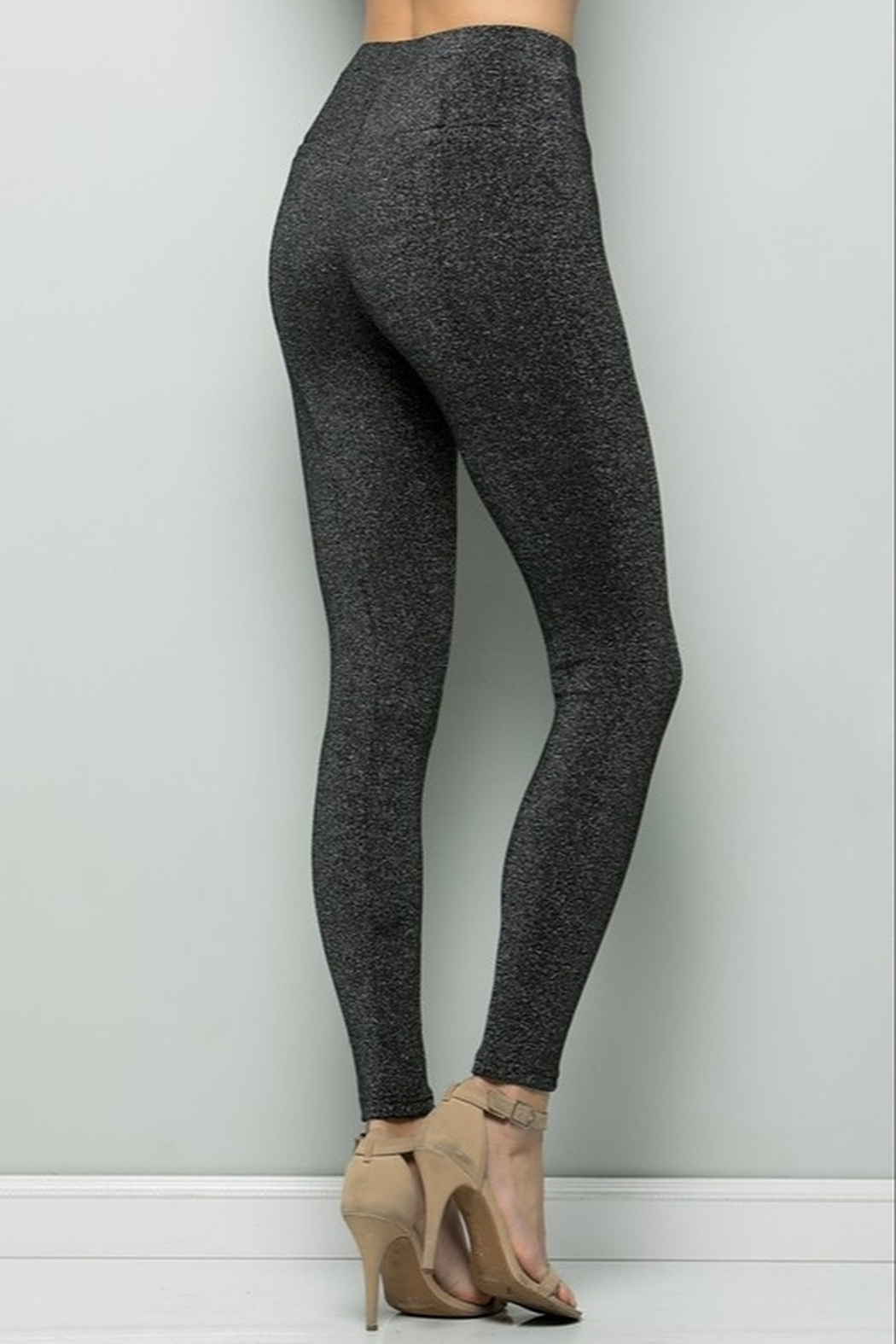 See and Be Seen Black Sparkle Leggings - Front Full Image