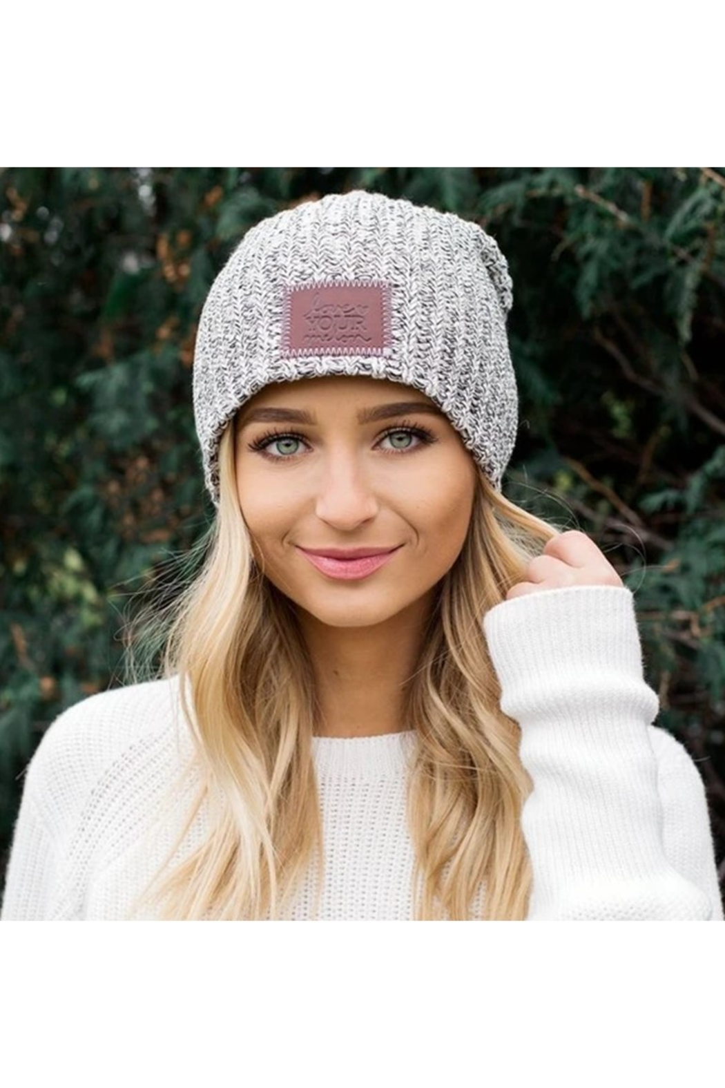 Love Your Melon Black Speckled Beanie - Front Full Image