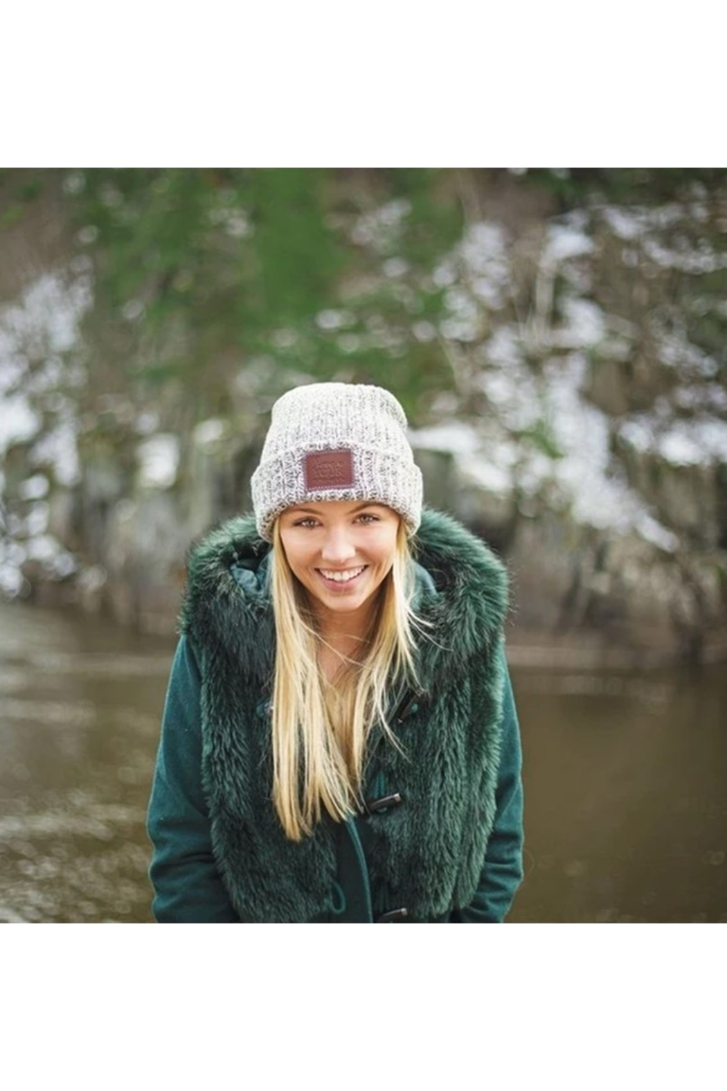 Love Your Melon Black Speckled Cuffed Beanie - Side Cropped Image