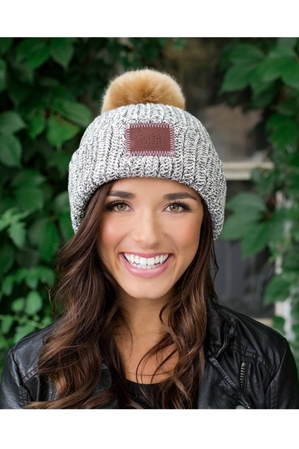 Love Your Melon Black Speckled Pom Beanie - Front Full Image