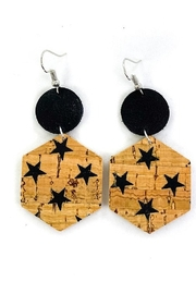 Savvy Bling Black Star Leather Earrings - Product Mini Image