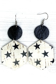 Savvy Bling Black Star On White Leather Earrings - Product Mini Image
