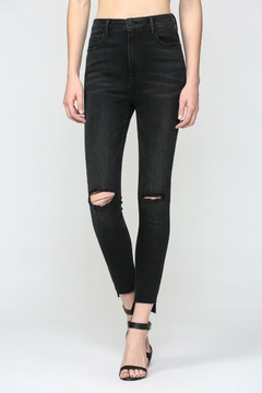 Hidden Jeans Black Step Hem Knee Slit High Rise Skinny - Product List Image