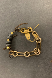 debe dohrer design black stones on leather and brass links - Product Mini Image
