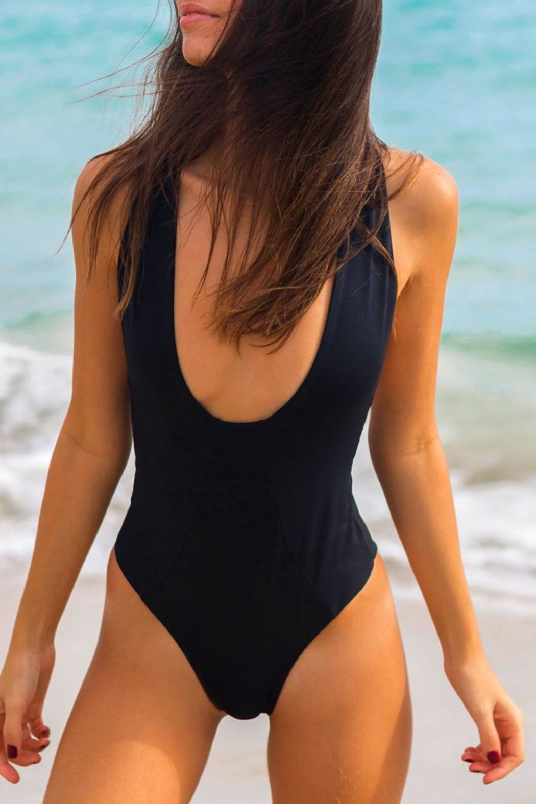 Khongboon Swimwear Black Strappy One-Piece - Front Full Image