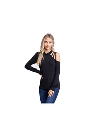 White Birch Black strappy one shoulder knit with long sleeves - Product Mini Image