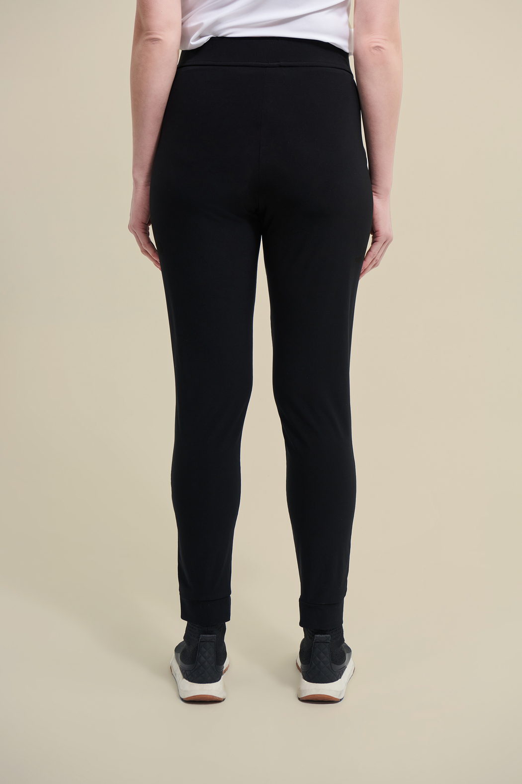 Joseph Ribkoff  Stretchy, black drawstring pants with zip pockets. - Side Cropped Image