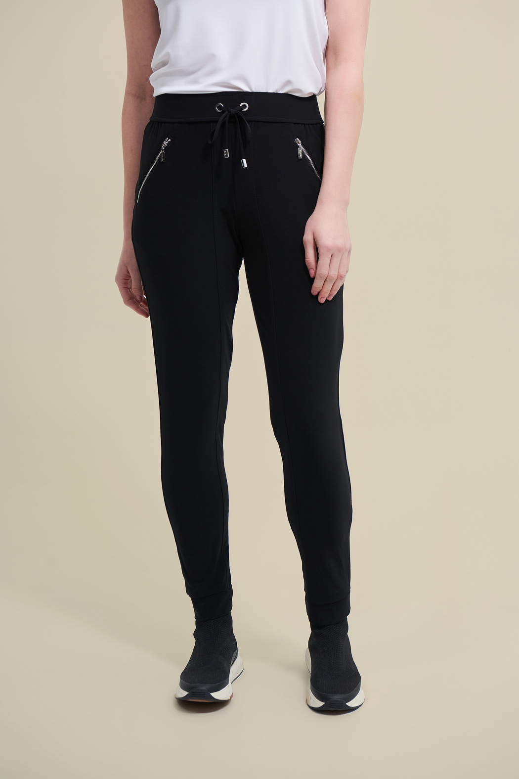 Joseph Ribkoff  Stretchy, black drawstring pants with zip pockets. - Main Image
