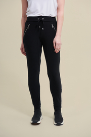 Joseph Ribkoff  Stretchy, black drawstring pants with zip pockets. - Front cropped