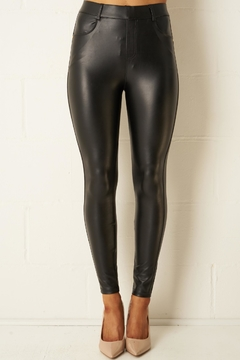 frontrow Black Stretch-Leather-Look Jeans - Product List Image