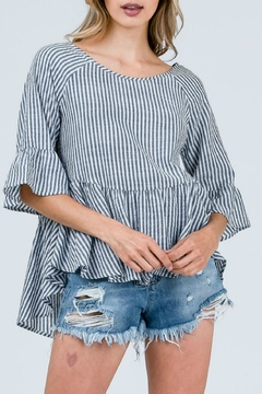Cozy Casual Black Strip Lace-Up-Top - Product List Image