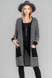 Les Amis Black Stripe Cardigan - Product Mini Image