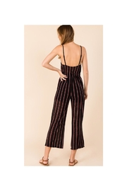 Polly & Esther Black Stripe Jumpsuit - Front full body