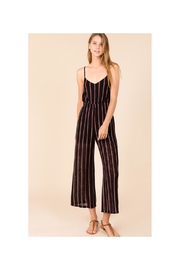 Polly & Esther Black Stripe Jumpsuit - Front cropped