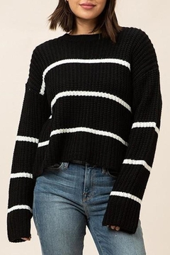 Shoptiques Product: Black Striped Chunky-Sweater