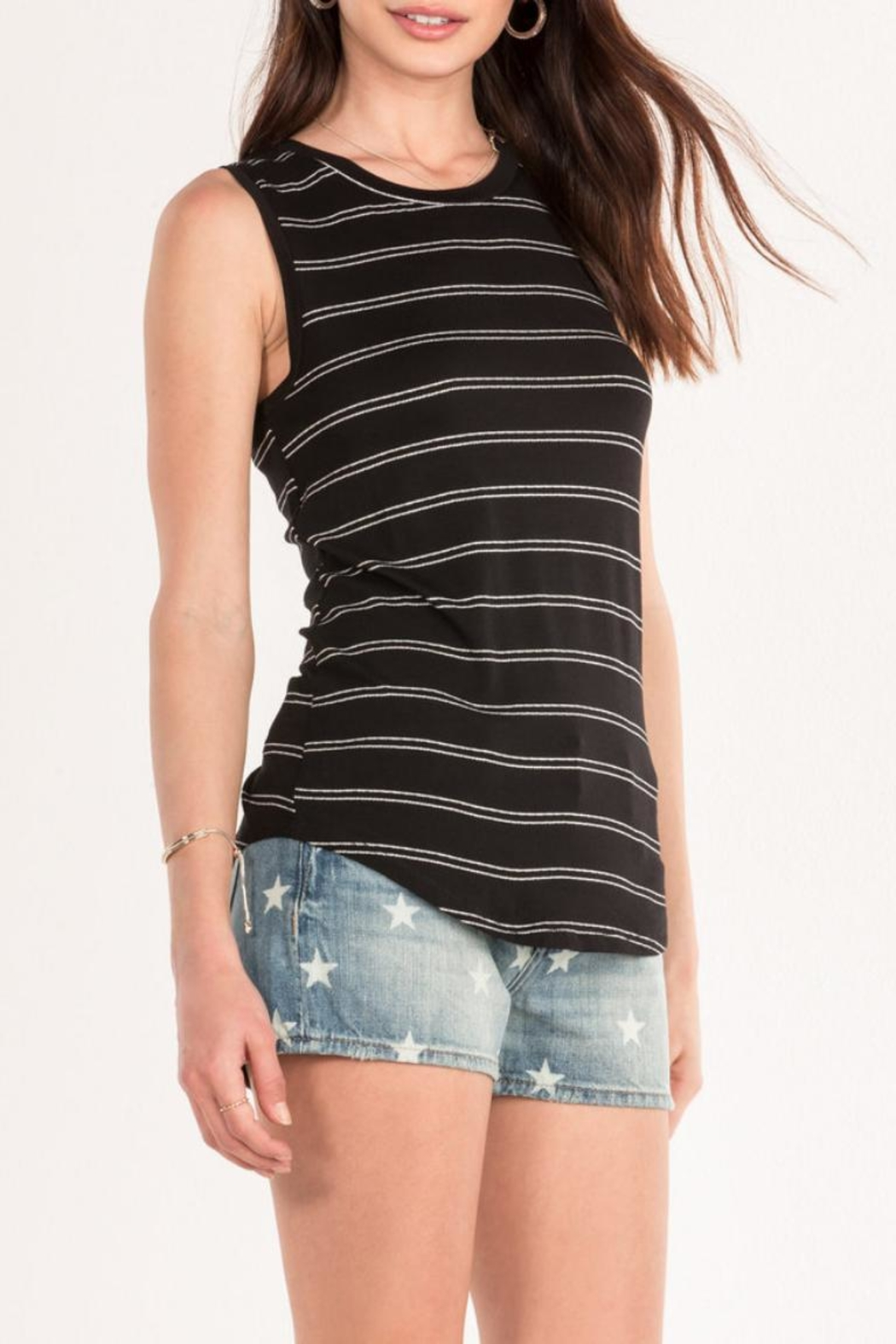 Miss Me Black Striped Tank - Front Full Image