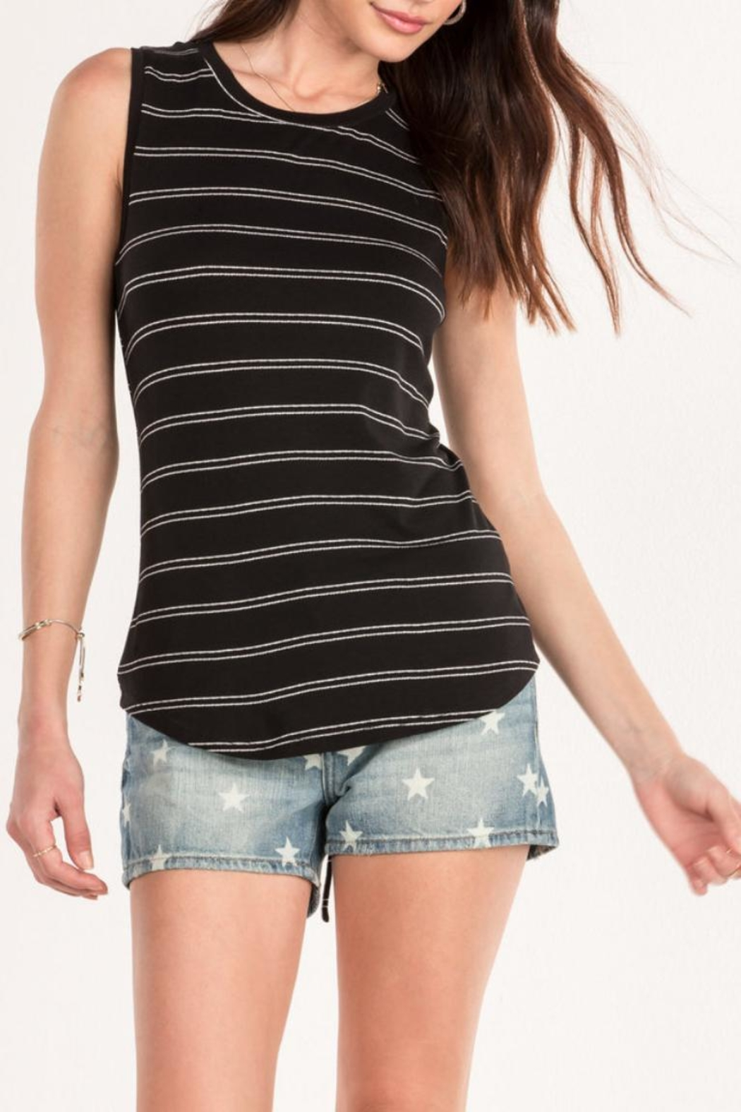 Miss Me Black Striped Tank - Main Image