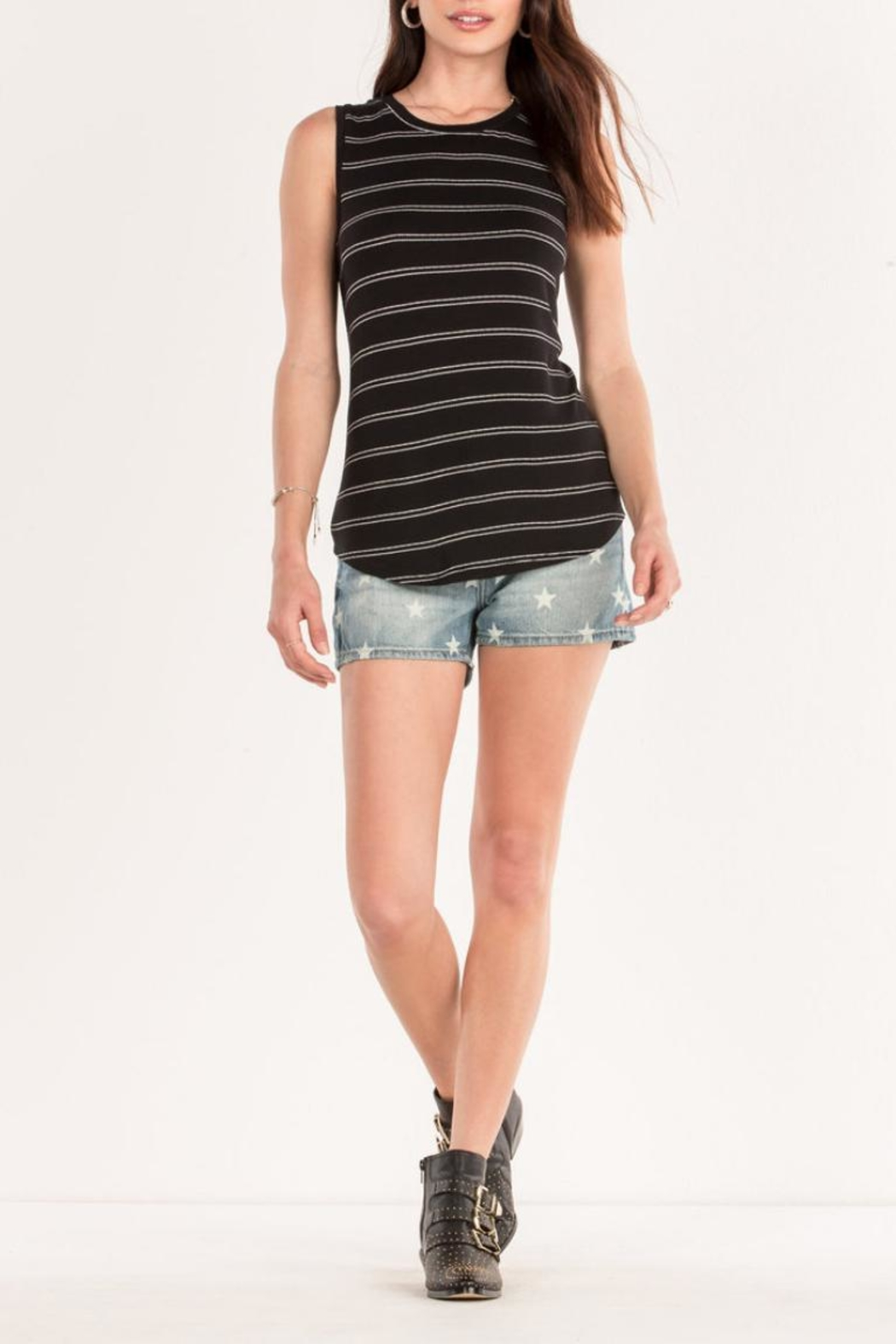 Miss Me Black Striped Tank - Back Cropped Image